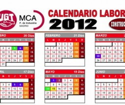 Calendario laboral de la construcción 2012 Madrid