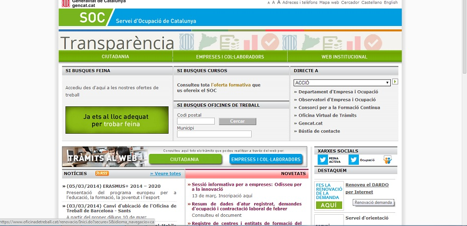 Renovar el paro online en catalu a en for Sellar paro con certificado digital