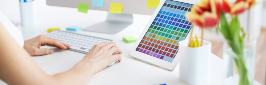 Female designer working with colors