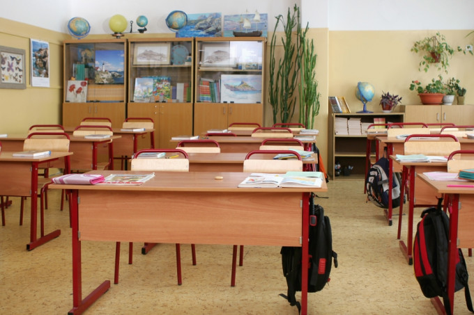 empty classroom before a lesson at elementary school